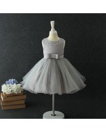 Stylo Bow Silver Kids Party Dress-babycouture.in