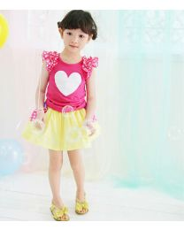 Summer Heart Pretty Colours Skirt Set-babycouture.in