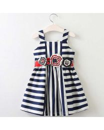 Summery Blue Stripes Kids Dress-babycouture.in