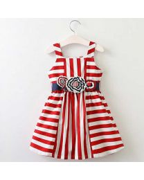 Summery Red Stripes Kids Dress