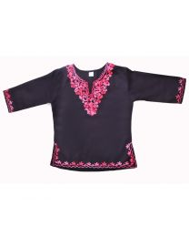 SwankyMe Black Pink Embroidered Kurti-babycouture.in
