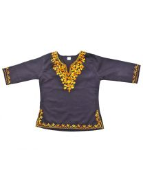 SwankyMe Black Yellow Embroidered Kurti-babycouture.in