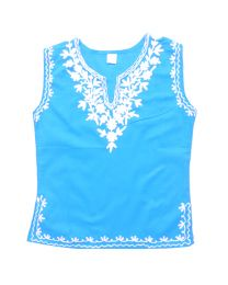 SwankyMe Blue Embroidered Kurti -babycouture.in