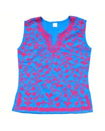 SwankyMe Blue Pink Embroidered Kurti-babycouture.in
