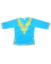 SwankyMe Blue Yellow Embroidered Kurti-babycouture.in