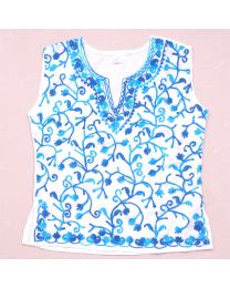 SwankyMe White Blue Embroidered Kurti-babycouture.in