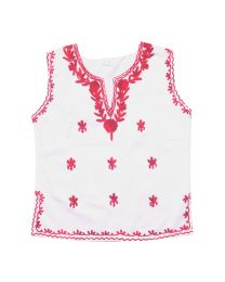 SwankyMe Red White Embroidered Kurti-babycouture.in