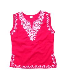 SwankyMe Hot Pink White Embroidered Kurti--babycouture.in