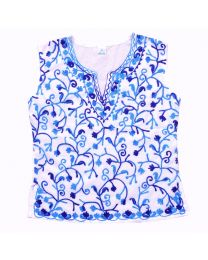 SwankyMe Dark Blue White Embroidered Kurti-babycouture.in