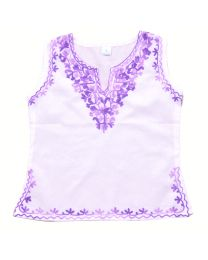 SwankyMe White Lavender Embroidered Kurti-babycouture.in
