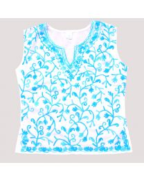 SwankyMe White Light Blue Embroidered Kurti-babycouture.in