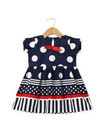 Tia's Blue Miss Dotty Kids Dress-babycouture.in