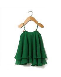 Tia's Pearl Green Cape Drape Kids Dress-babycouture.in