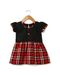 Tias Cute Black And Red Checkered Dress-babycouture.in