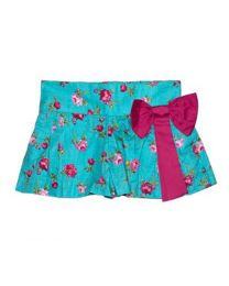 Tias Floral Pink Bow Kids Skirt-babycouture.in