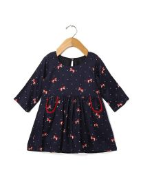 Tia's Navy Blue Red Pony Kids Dress-babycouture.in