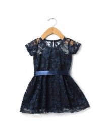 Tia's Navy Blue Royal Lace Kids Dress-babycouture.in