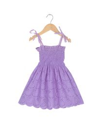 Tia's Purple Smock Kids Frock-babycouture.in