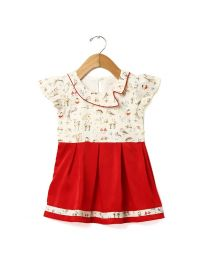 Tia's Red Christmasy Farm Kids Dress-babycouture.in