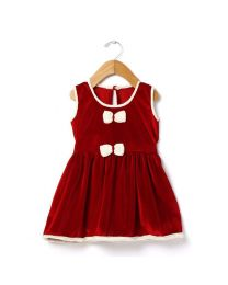 Tia's Red Velvet Touch Kids Dress-babycouture.in