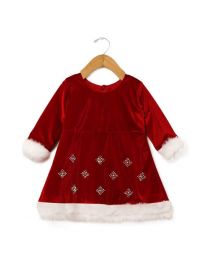 Tia's Velvet Red Little Santa Kids Dress-babycouture.in