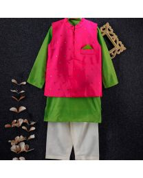 Tiny Pants Baby Boy Parrot Green Kurta Set -babycouture.in