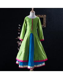 Tiny Pants Baby Girl Parrot Green Kurta With Lehnga Skirt Set-babycoture.in