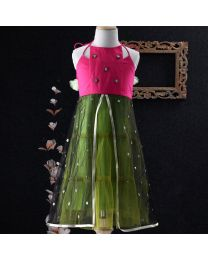 Tiny Pants Baby Girl Pink And Olive Green Neck Tie Up Dress-babycouture.in