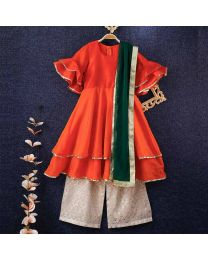 Tiny Pants Baby Girl Tangerine Frill Kurta With Pants Set-babycoutue.in