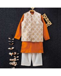 Tiny Pants Ivory Baby Boy Banarasi Jacket Kurta Set-babycouture.in