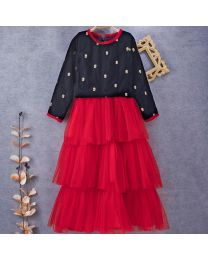 Tiny Pants Red Baby Girl Multi Layer Skirt With Velvet Top-babycouture.in