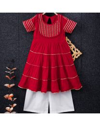Tiny Pants Red Comfy Cotton Baby Girl Palazzo Suit Set-babycouture.in