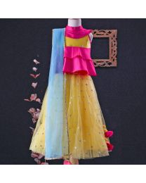 Tiny Pants Sunshine Blossom Baby Girl Lehnga Dress-babycouture.in