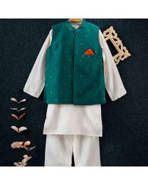 Tiny Pants Teal Blue Baby Boy Nehru Jacket White Kurta Set-babycouture.in