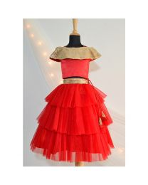 Tutu Kidswear Cold Shoulder Red Baby Girl Lehanga Choli Set-babycouture.in