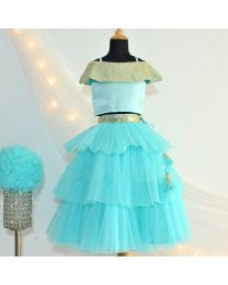 Tutu Kidswear Cold Shoulder Turquoise Baby Girl Lehanga Choli Set-babycouture.in