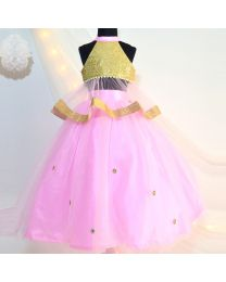 Tutu Kidswear Pink Gold Baby Girl Lehanga Choli Set-babycouture.in