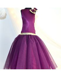 Tutu Kidswear Dark Purple Sequin Baby Girl Bright Gown-babycouture.in