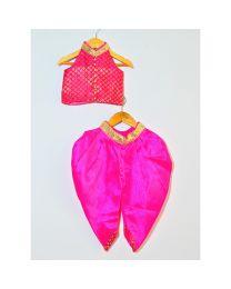 Tutu Kidswear Halter Neck Fuchsia-Pink Dhoti Set-babycouture.in