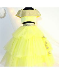 Tutu Kidswear Lemon Yellow Baby Girl Lehanga Choli Set-babycouture.in