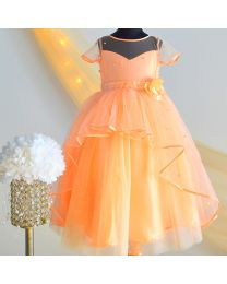 Tutu Kidswear Peach Soft Tulle Baby Girl Dress-babycouture.in