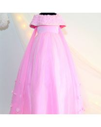 Tutu Kidswear Pink Baby Girl Floor Touch Gown-babycouture.in