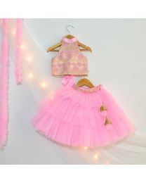 Tutu Kidswear Pink Baby Girl Lehanga Choli Set-babycouture.in