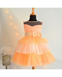 Tutu Kidswear Peach and White Short Baby Girl Dress-babycouture.in
