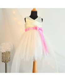 Tutu Kidswear Pink & White High Low Baby Girl Dress-babycouture.in