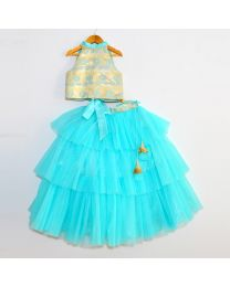 Tutu Kidswear Turquoise Baby Girl Lehanga Choli Set-babycouture.in