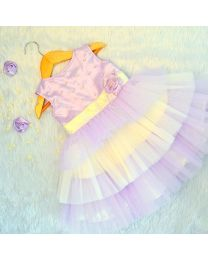 Tutu Kidswear Violet & White Short Baby Girl Dress-babycouture.in