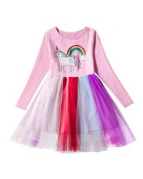Unicorn Kids Casual Pink Dress-babycouture.in
