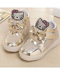 URB-N-ANGELS Golden Embellished Kids Sneakers-babycouture.in