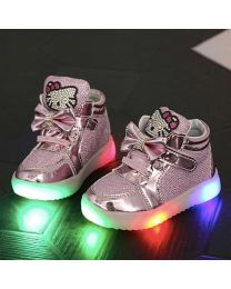 URB-N-ANGELS Pink Embellished Kids Sneakers-babycouture.in